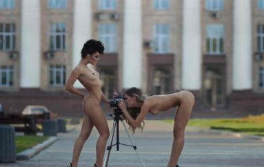 Ню на фоне Донецка